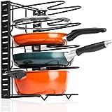 Baskiss Pan Pot Organizer Rack, Height Adjustable, 5-Tier Cookware Holder for Cabinet Worktop Storage