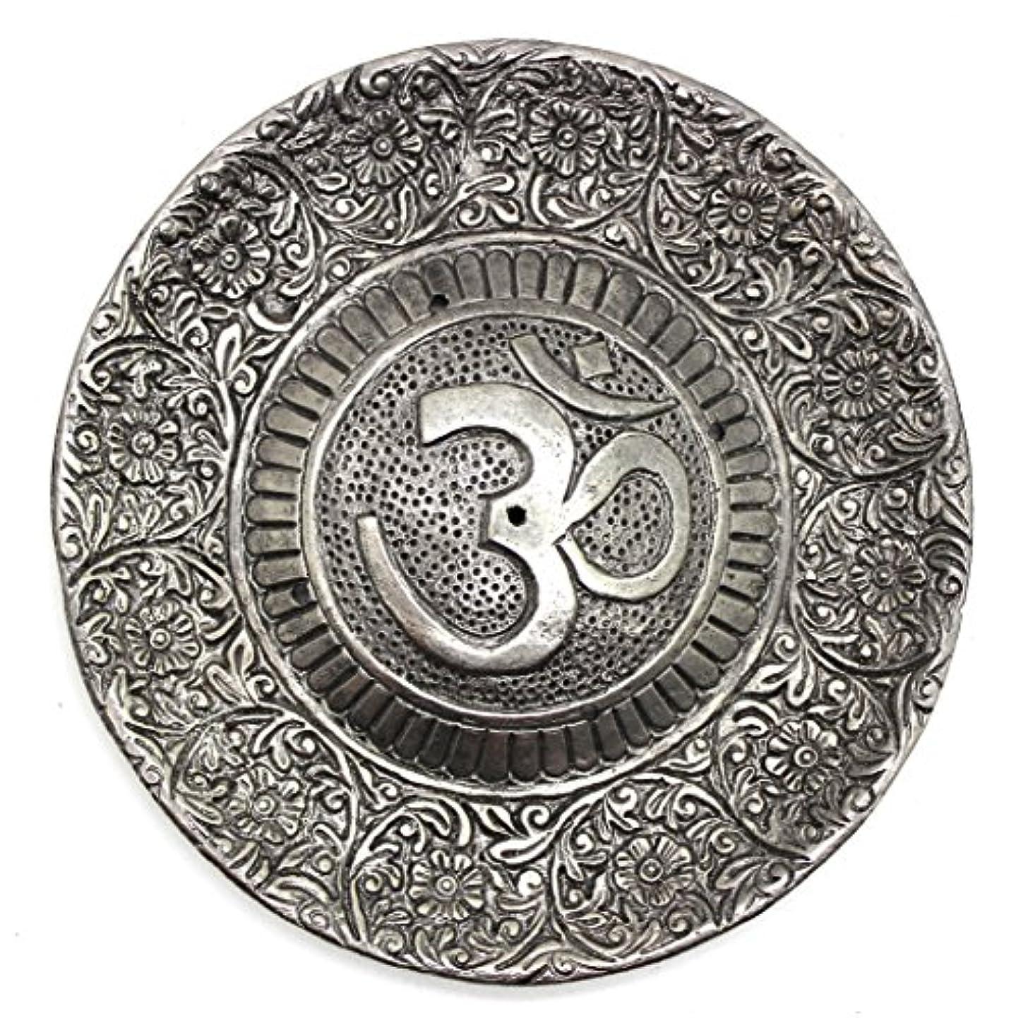 文明化賛辞更新Govinda - Tibetan Incense Burner - Larger OM Symbol - 11cm Diameter