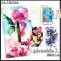 花柄 iPhone6/iPhone7 ALTROSE BOOK型ケース f,ブラック:
