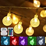 Battery Operated String Lights USB Powered 16 Colors Globe LED Fairy String Lights with Timer & Memory Function, Outdoor Stri