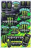 [2枚セット] モンスターエナジー ステッカー (MONSTER ENERGY Sticker エンブレム Green mix type B) L サイズ (グリーンBタイプ)