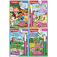Highlights Magic Pen Painting Activity Books Includes 4 Books: Highlights Hidden Pictures, Fun Puzzle, Let's Hunt for Letters, Count and Colour Invisible Ink Magic Pen Painting Books