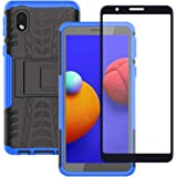Samsung Galaxy A01 Core Case with Tempered Glass Screen Protector, Yiakeng Shockproof Silicone Protective with Kickstand Hard