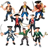 ArtCreativity Pirate Figures, Set of 8 Flexible Men, Birthday Party Favors for Boys and Girls, Stress Relief Fidget Toys for