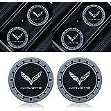 Goshion 2pcs 2.75 Inch Diameter Oval Tough Car Logo Vehicle Travel Auto Cup Holder Insert Coaster for Corvette All Models