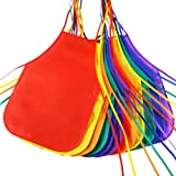 Pllieay 12 Pieces 6 Colors Fabric Aprons for 5-10 Years Non Woven Kids Artist Apron Applied in Kitchen, Classroom, Community