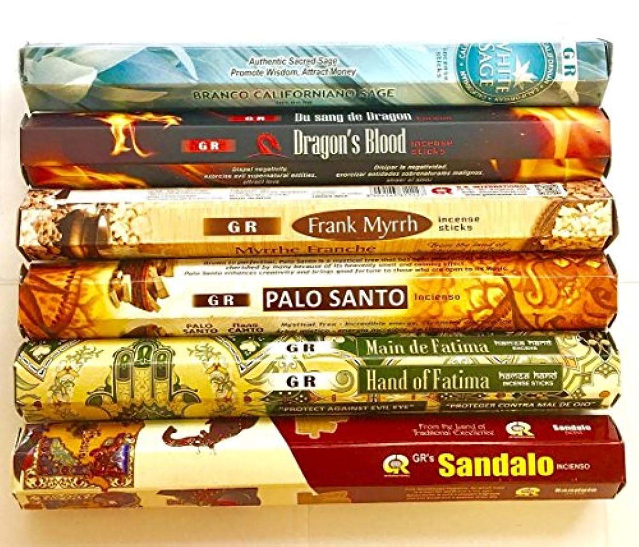 強大な火炎ロープGR Incense Sticks Best Sellers 6ボックスX 20スティック、Variety Pack ( # 2 )