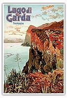 ガルダ湖 - トレモージネ、イタリア - ビンテージな鉄道旅行のポスター によって作成された エットーレ・エリオ・シメネス c.1920s - アートポスター - 33cm x 48cm