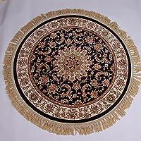 カーペット敷物純粋な羊毛手作りの丸いシンプルでモダンな玄関ベッドルームキッチンマットノンスリップ水 (Size : Diameter 1m, Style : R-4)