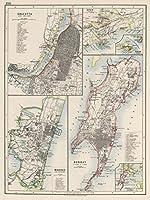 World Atlas | 1906年カルカッタ。Madras (マドラス)。Bombayボンベイ。aden。Perim。| Historicアンティークヴィンテージマップ再印刷 24in x 18in 568875_2418