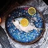 セラミックボールラーメンボウル - ヨーロッパスタイルクリエイティブブルーセラミック食器皿フルーツサラダラーメンステーキ円形プレート (色 : 青, サイズ さいず : 大 だい)