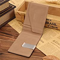Mens Genuine Leather Silver Money Clip Bifold Slim Wallet ID Credit Card Holder
