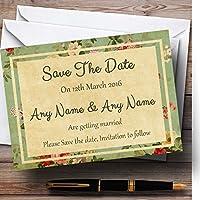Vintage Shabby ChicはがきスタイルPersonalized結婚を保存日付カード 50 Invitations