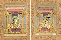 ムガルEmperor Shahjahan and Empressムムターズ・マハル(セットの2つの絵画)–Water色ペイントon P
