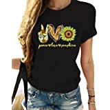 zeyubird Womens Summer Peace Love Sunshine T-Shirt Funny Graphic Print Sunflower Tee Short Sleeve Casual Tops for Women