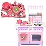《ネット限定》 マザーガーデン 木のおままごと オープンカフェ キッチン 《ピンクパープル》& 野いちご 調理器具10点セット k-1