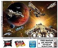 宇宙船in the Universeフォト壁紙–Space Ships Galaxy–XXL壁デコレーション子供部屋 82.7 Inch x 55 Inch - 5 pieces 754311977055