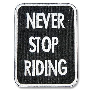 刺繍アイロンワッペン・アップリケ・パッチ【NEVER STOP RIDING/永遠に止まらない走り】