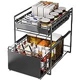 シンク下スライドラック2段 幅27cm 多機能のキッチン収納 スライド式 ステンレス棚 調味料/スパイス/ボトル収納(黑…