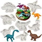 Dinosaur Fondant Molds Silicone- Yawooya Large Size Dino Dinosaur Party Mold 7 Set for Cake Decoration/Resin/Cupacke Toppers/