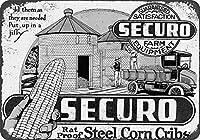 Shimaier 壁の装飾 メタルサイン 1920 Securo Steel Corn Cribs ウォールアート バー カフェ 縦20×横30cm ヴィンテージ風 メタルプレート ブリキ 看板