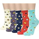 ALLYDREW Furry Friends Animal Socks for Women - Cat Socks, Dog Socks & Owl Socks (5 Pairs)