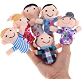 NUOLUX Finger Puppets 6pcs Family Mermbers Finger Hand Puppet Play Learn Story Toy