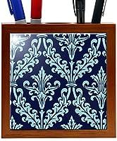 Rikki Knight 5-Inch Blue Color Damask Design Wooden Tile Pen Holder (RK-PH1324) [並行輸入品]