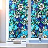 SmaTabi 窓用フィルム ガラスフィルム 窓 ステンドグラス風 水だけで貼れる 目隠しシート 遮光 断熱 UVカット (90cm x 100cm ブルーベースフラワー)