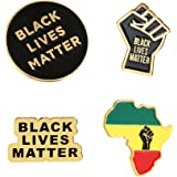 WFYOU 6Pcs Black Lives Matter Pin Raised Fist Enamel Pin - I Can't Breathe Pin - BLM Protest Lapel Pin for Jackets, Backpacks