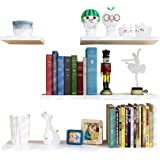 Wall Shelves 1.5cm Thickness, Set of 4 Hanging Floating Shelves Decoration, Wall Mounted Bathroom Shelves with Hardware and F