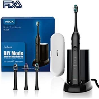 ABOX 電動歯ブラシ ブラック 音波歯ブラシ 付属品 UV除菌器 歯ブラシをきれいに保つ トラベルケース 持ちやすい 替えブラシ3本 長時間使える 5つモード DIYモード ヒューマニゼーション 1分48000回 綺麗に磨ける 2分タイマー IPX7級防水 全体洗い可 60日に使用 旅に優しい