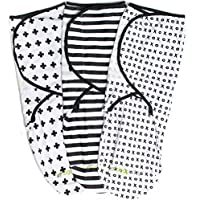 Swaddle Blanket Adjustable Infant Baby Wrap Set by Ziggy Baby 3 Pack Soft Cotton in Black + White [並行輸入品]