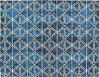 防炎 輸入絨毯 玄関マット iggy-5080 (89/BL) 約50×80cm プレーベル prevell インド製 ゴブラン織 綿ラグ コットン ホットカーペット・床暖房対応 玄関マット ブルー 青 blue