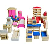 Seanmi Wooden Dollhouse Furniture - 5 Sets, 1:12 Scale Doll House Furnishings, 35 Pieces of Dollhouse Accessories (Living Roo