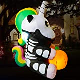Poptrend Inflatable Halloween Decorations,4.9 FT Inflatable Unicorn Hold Pumpkin Outdoor Halloween Blow Up Yard Decorations