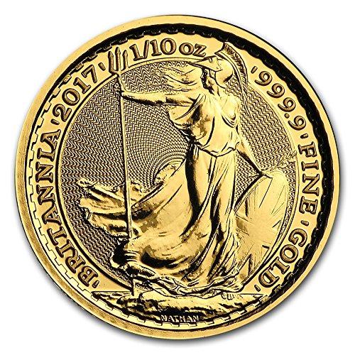 3.11グラム 純金 イギリス ブリタニア 10ポンド 2017年 金貨 1/10オンス ゴールド コイン カプセル クリアーケース付き