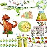 Youland 恐竜 パーティー 用品 セット パーティー 装飾 オール イン パック 12人ゲスト用 -恐竜 パーティー テーブルウェアプレート、カップ、ストロー、マスク、帽子、ブローアウト、ケーキトッパー、フィギュア、ステッカー、バルーン、バナー、スワール、 恐竜のテーマ誕生日パーティーに最適 男の子 女の子 子供用