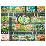 Toy Plastic Rug,Splat Mat, Washable for Floor Or Table,Kids Carpet PVC City Life Great for Playing with Cars and Toys .Baby, Children Educational Road Traffic Play Mat Learning Carpets