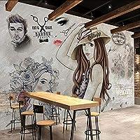 Xueshao 写真の壁紙モダンファッション美容バーバーショップツーリング背景壁の装飾画E 3D-120X100Cm