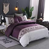 Quilt Cover Set King Size 3-Piece Solid Color Bedding Set Purple White Duvet Cover Set with Flower - 1 Quilt Cover + 2 Pillow