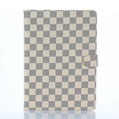 Apple iPad Pro 9.7 ケース 「PIAPI専門店」 アップル アイパッド プロ9.7 カバー iPad Pro9.7 タブレットケース チェック柄 手帳型 高級PUレザー ビジネス 大人風 シンプル 横開き 柔らかな材質 カードポケット付き スタンド機能 耐衝撃 防塵 耐久性 装着やすい 卓上用 簡素なデザイン 無地 ホワイト