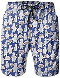 シロクマ メンズ サーフパンツ 水陸両用 水着 海パン ビーチパンツ 短パン ショーツ ショートパンツ 大きいサイズ ハワイ風 アロハ 大人気 おしゃれ 通気 速乾