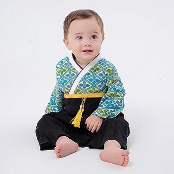 077977e13b9f4 袴 ロンパース 男の子 着物風 和柄 カバーオール ベビー 袴 キッズ 袴風 フォーマル よだれかけ1