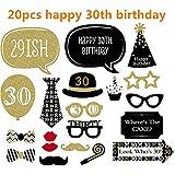 L-Peach happy 30th birthday フォトプロップス 20点セット 撮影小道具 ひげ メガネ 帽子 くちびる ネクタイ 宴会 誕生日 二次会 アイテム 面白い創造的な仮装 グッズ 写真撮影 セット