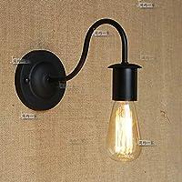Pointhxアメリカンスタイル業界ブラックアイアンSconceウォールランプ工業用アンティークメタルウォールライトベッドルームベッドサイドランプ廊下通路装飾壁照明器具黒(サイズ:S(15cm))