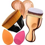 Flawless Foundation Brush Set Petal Shape Foundation Brush Angled Flat Foundation Brush with Makeup Sponge Blender for Liquid