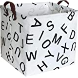 ESSME Square Storage Bin,Cotton Fabric Laundry Baskets,Collapsible Waterproof Toy Storage Bin with Handles for Family Storage