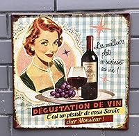 NEWNESS WORLD 美味しいワインテーマ レトロスタイル 壁掛けサイン/メタルブリキ製看板 壁装飾 家庭/レストラン/バー/パブ/コーヒーショップ用 30×30cm