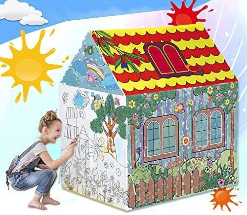 キッズテントおもちゃハウス 自由の創造、落書き 部屋 屋内 プレゼント子供用テント テント 玩具収納 秘密基地 おままごと 隠れん坊ゲーム 遊び小屋 テント 掃除して再利用することができます 子供たちへの最高の贈り物